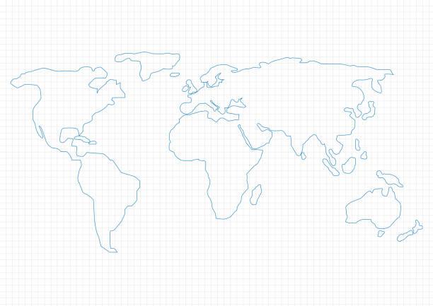 세계지도 - 단순함 stock illustrations