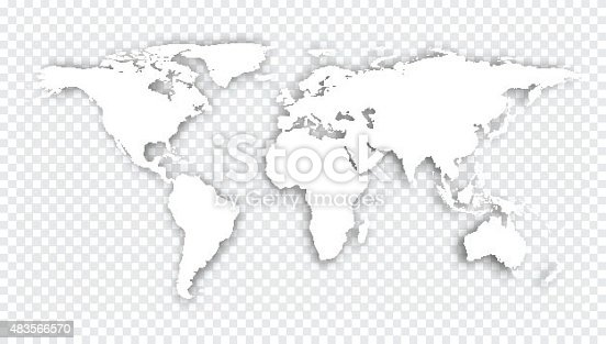 World map with shadow. Vector illustration.