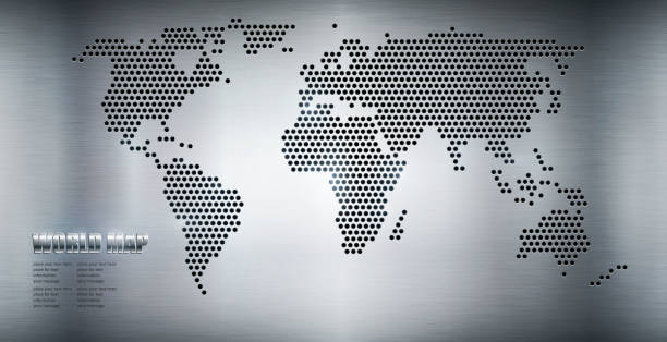 stockillustraties, clipart, cartoons en iconen met world map - united stats halftone dots