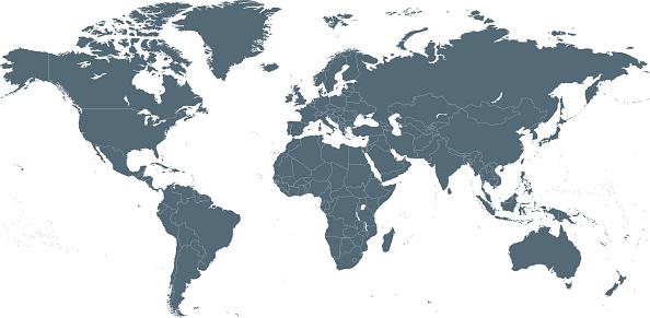 Empty Dark Gray World Map - illustration