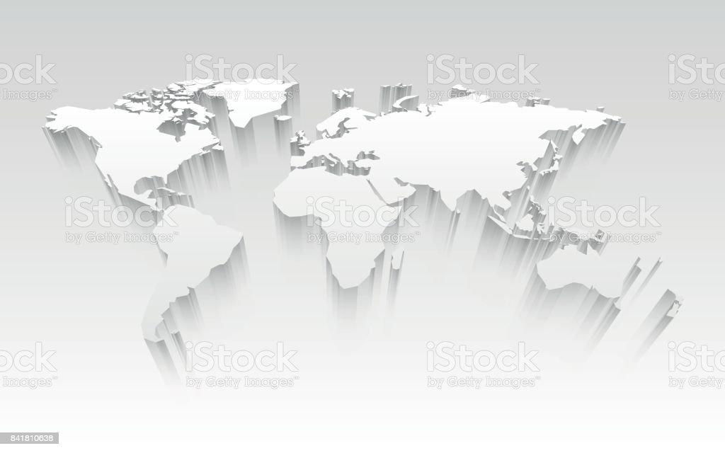 3D world map vector art illustration