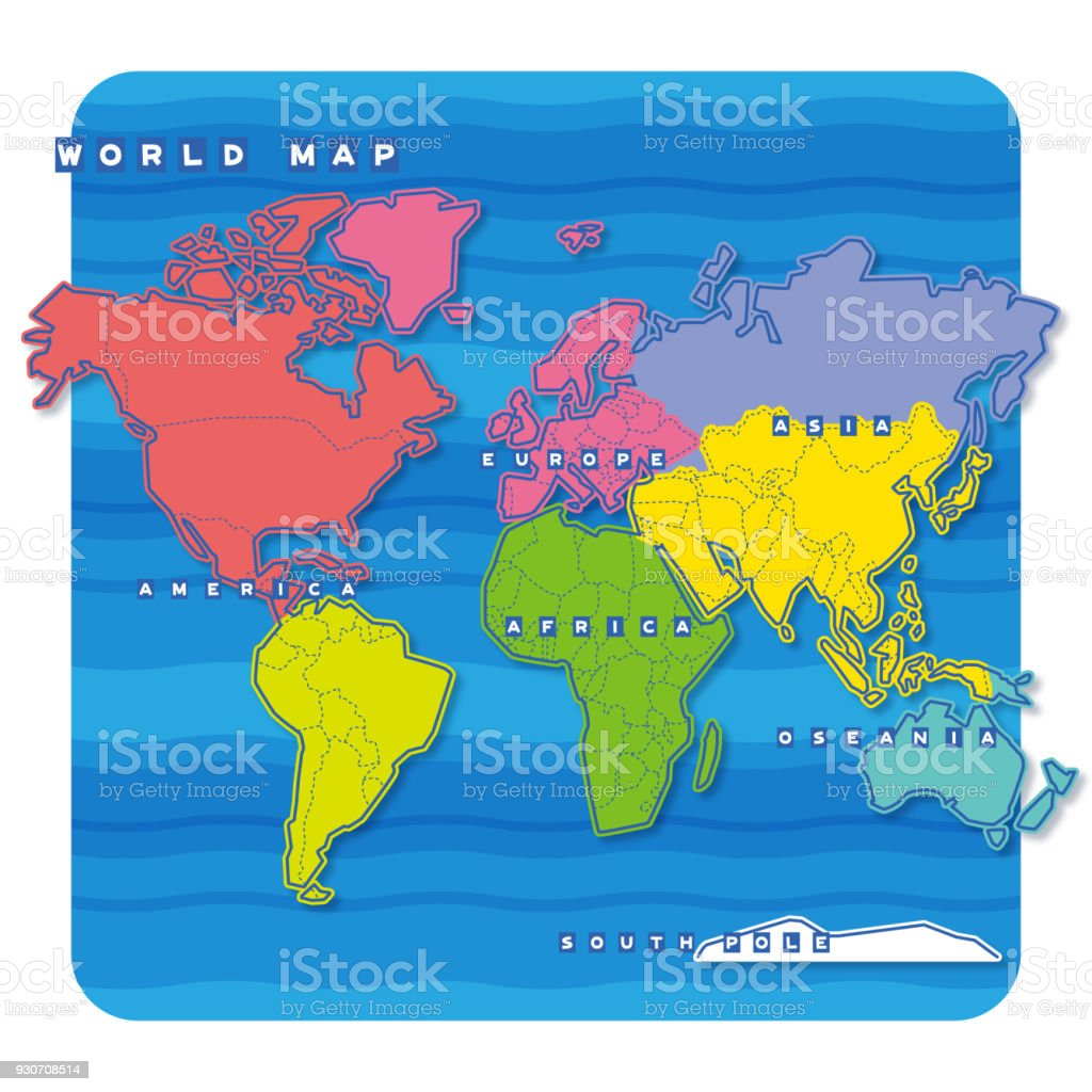 Map Of The World In English.World Map Stock Illustration Download Image Now Istock
