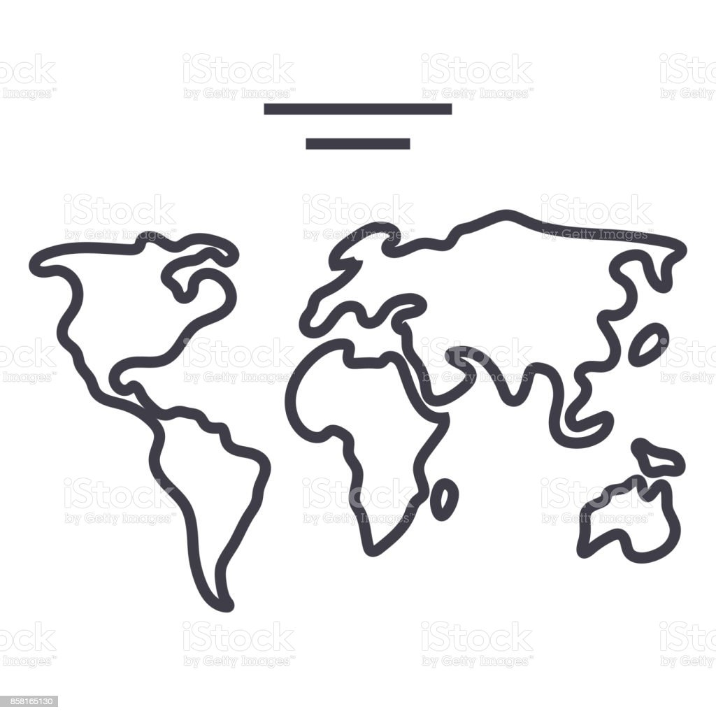 World map vector line icon sign illustration on background editable world map vector line icon sign illustration on background editable strokes royalty gumiabroncs Image collections