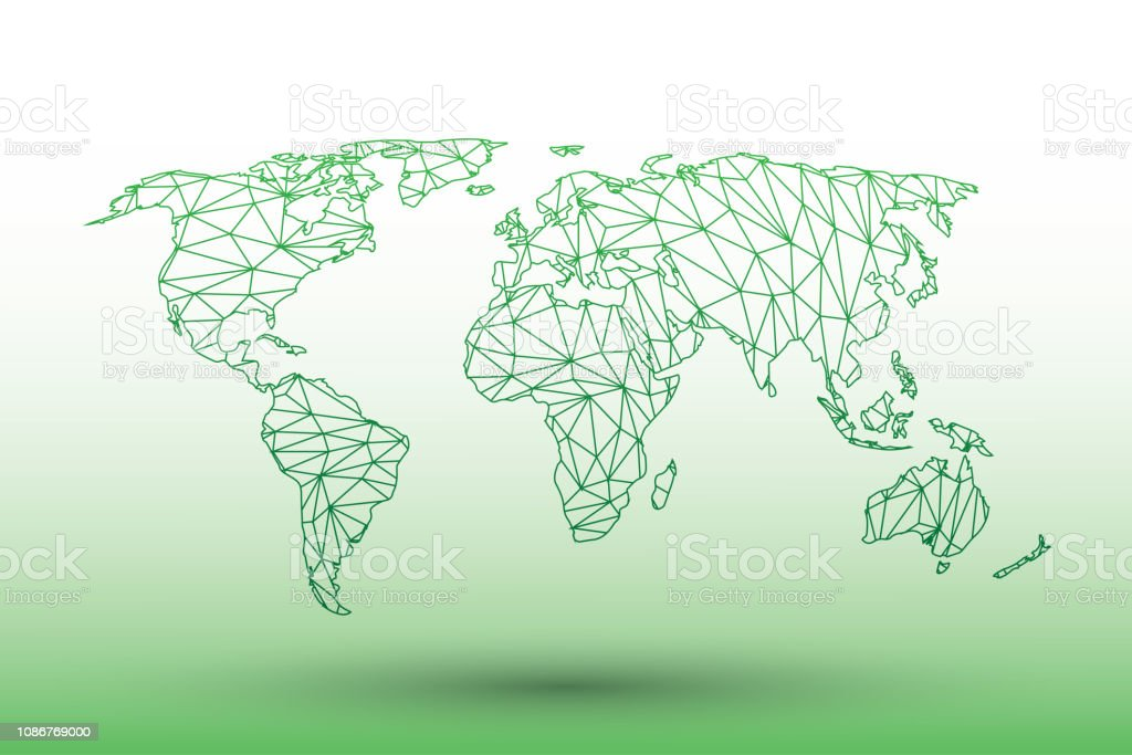 Welt Karte Vektor Grünfärbung Geometrische Verbundener Linien Mit Dreiecken Auf Hellem Hintergrund Illustration Bedeutung Starkes Netzwerk Stock