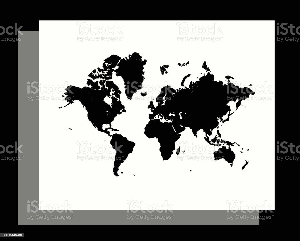 World Map Vector Outline Illustration In An Abstract Black And White  Background Stock Vector Art U0026 More Images Of Abstract 881095966 | IStock