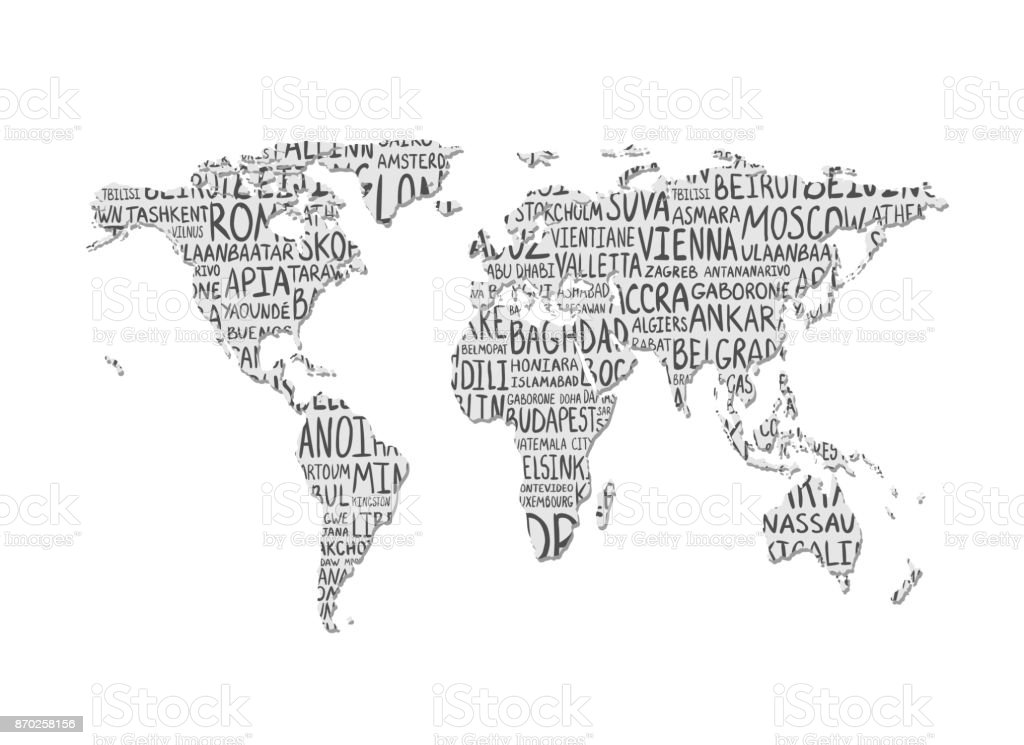 World map vector pattern of capital cities names stock vector art world map vector pattern of capital cities names royalty free world map vector pattern gumiabroncs Image collections