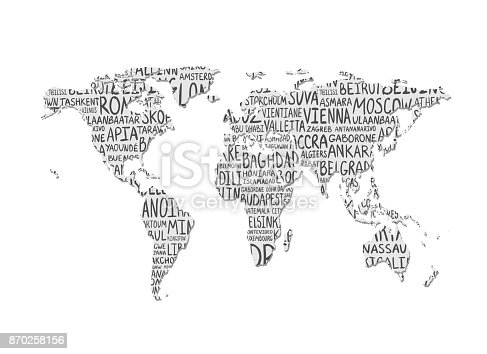World Map Vector Pattern Of Capital Cities Names Stock Vector Art