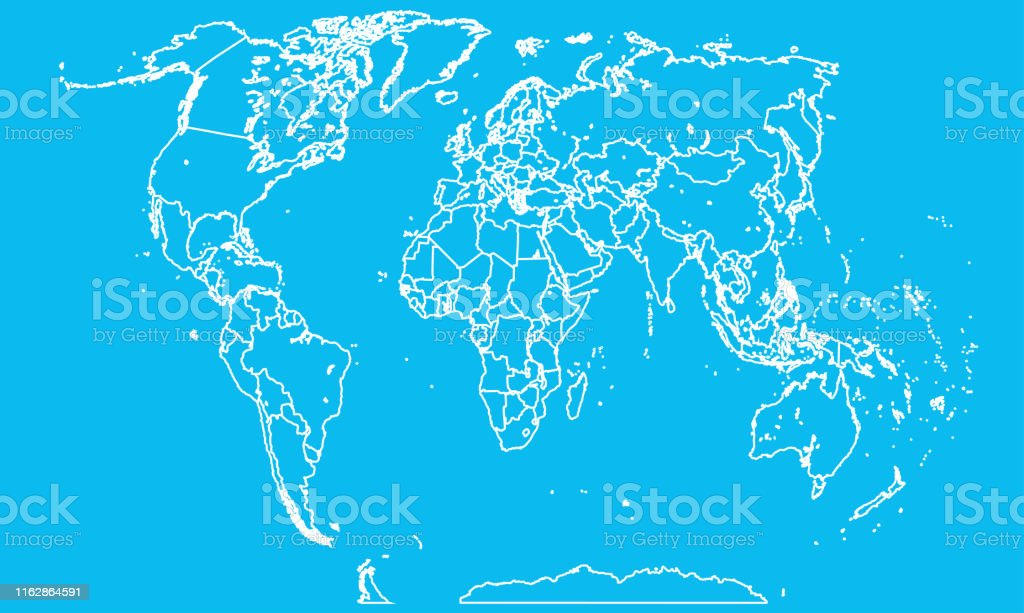 World map vector isolated on background. Flat Earth template for...