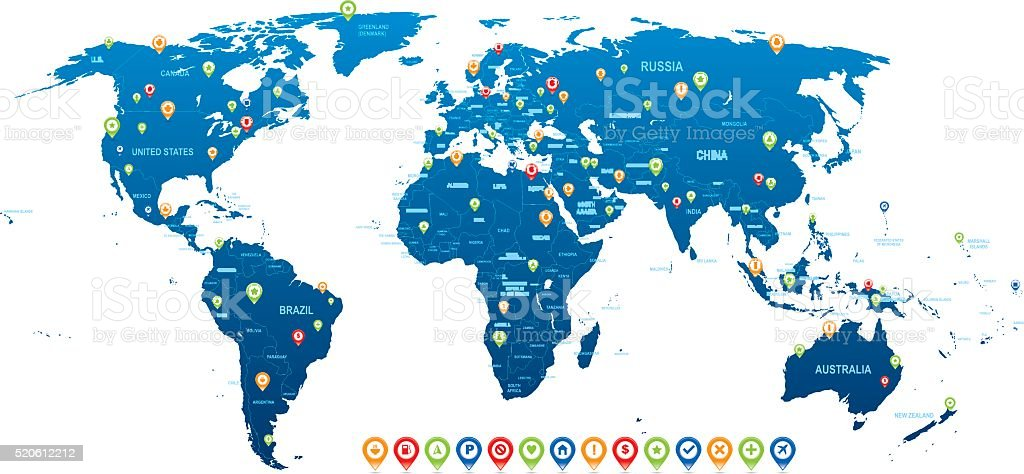Vector de mundo Mapa - ilustración de arte vectorial