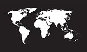 World map - vector. Black and white texture.