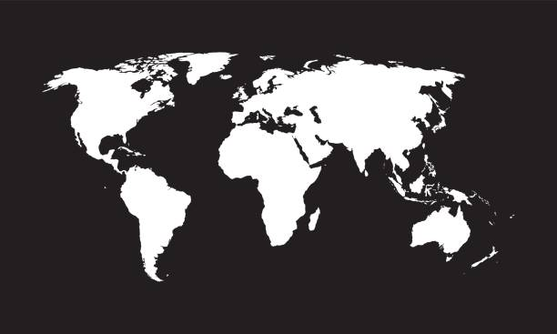 World map, vector. World map - vector. Black and white texture. country geographic area stock illustrations