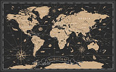 istock World Map Vintage Black Golden Detailed - Vector 1222308605
