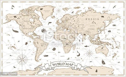 Detailed Vintage Cartoon World Map - vector illustration