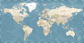istock World Map Vintage Dark Political - Vector Detailed Illustration - Layers 1285810084