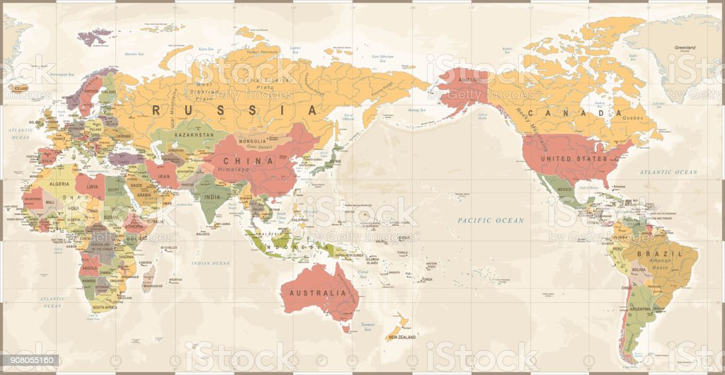World Map Vintage Old Retro Asia In Center Stock Vector Art More - World-map-with-us-in-center