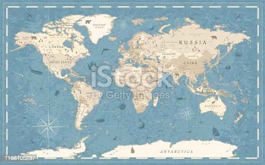 Detailed Vintage Old-Style World Map - vector illustration - blue and beige