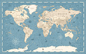 istock World Map Vintage Old-Style - vector - blue and beige 1198105237
