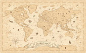 istock World Map Vintage Old-Style - vector - layers 1197921727
