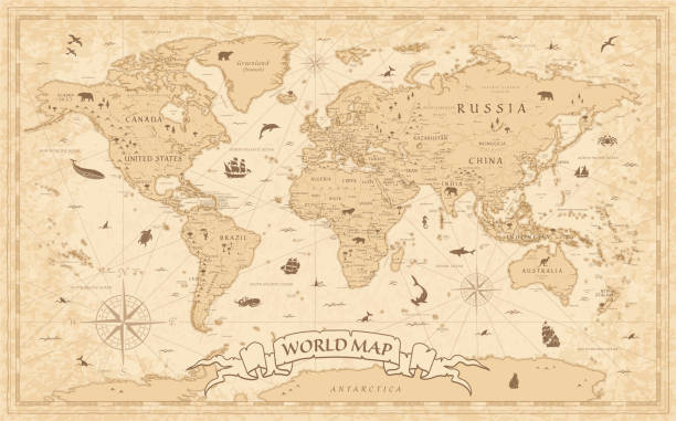 World Map Vintage Old-Style - vector - layers Detailed Vintage Old-Style World Map - vector illustration - layers obsolete stock illustrations