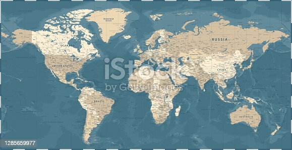 istock World Map - Vintage Political - Vector Detailed Illustration 1285659977