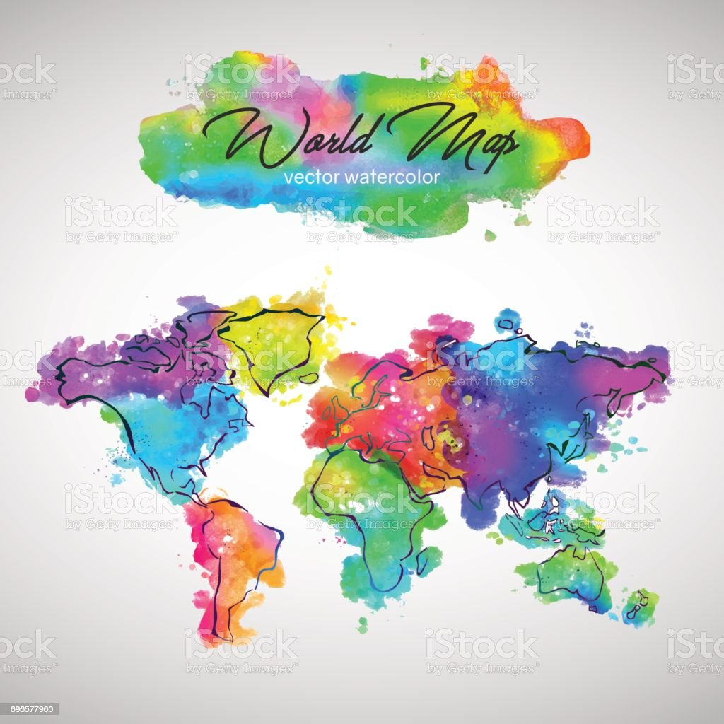 World Map Watercolor Paint Vector vector art illustration