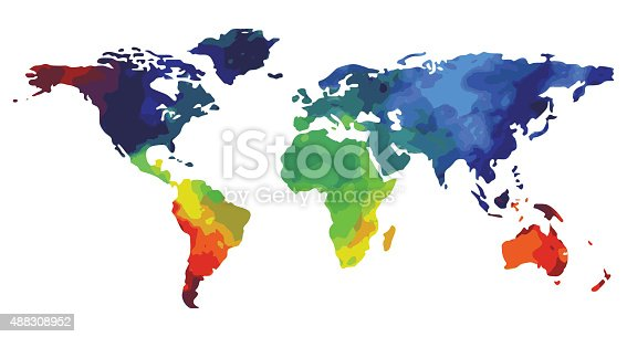 World map watercolor for design