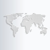World map white made of dots