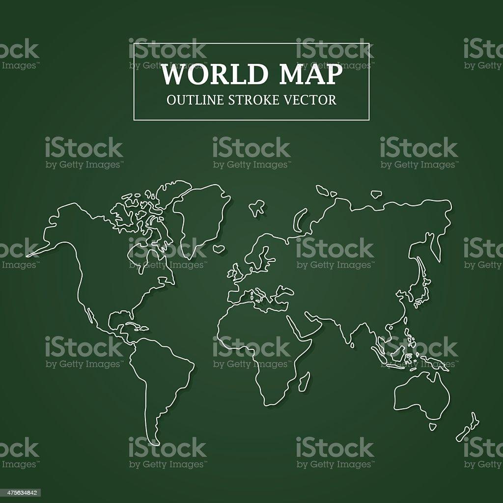 World Map White Outline Stroke on Green Background vector art illustration