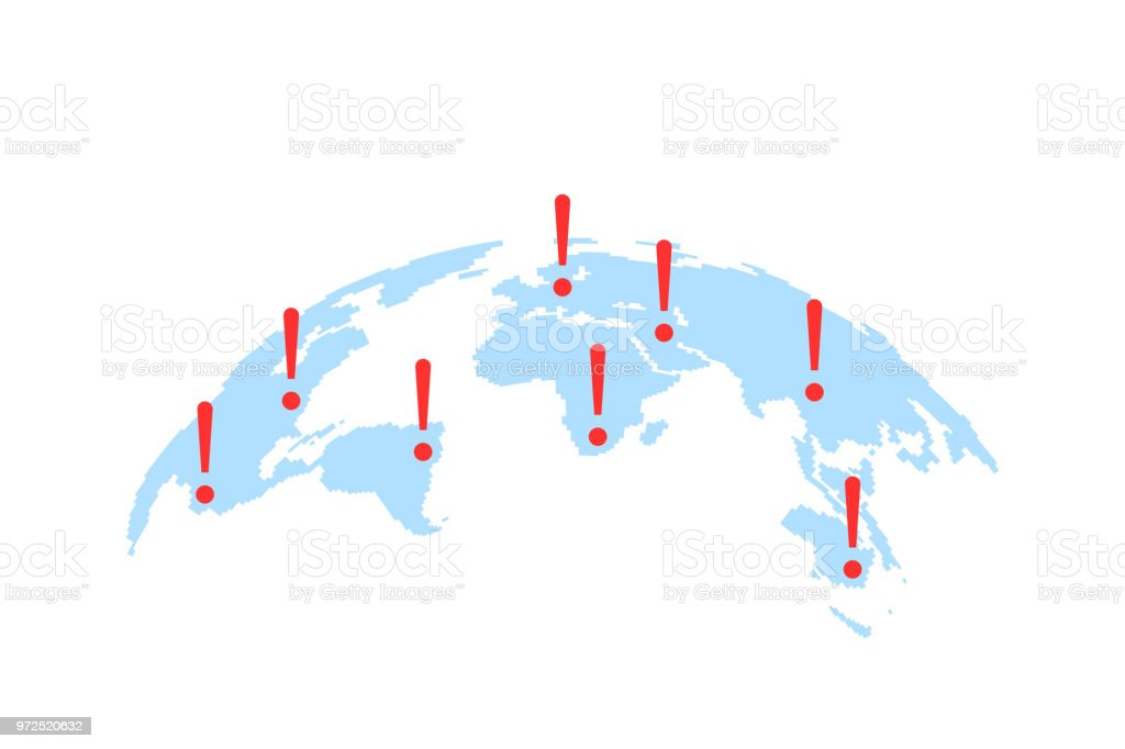 world map with abstract epicenters of cyber attacks or disasters royalty free world map with open comp