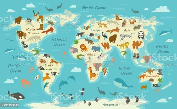 World map with animals vector id682958698?b=1&k=6&m=682958698&s=612x612&h=yidtbxyouaxbixcojxvmt3sa spalniecdytvixhr4i=