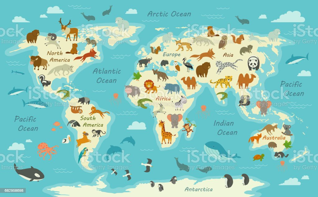 World Map with Animals vector art illustration