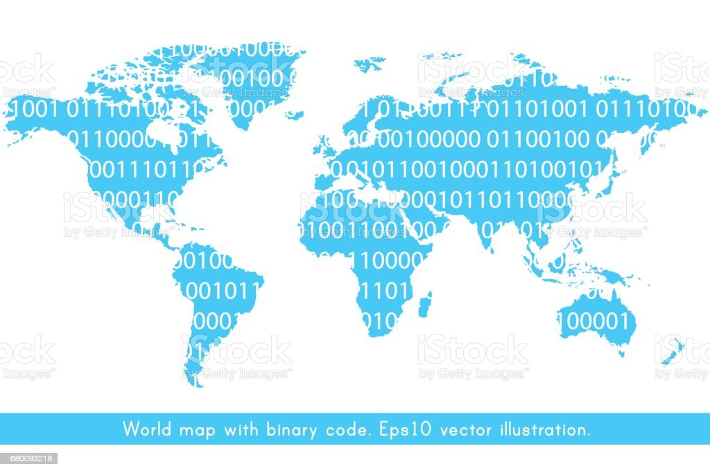 Ilustracin de world map with binary code y ms banco de imgenes de world map with binary code ilustracin de world map with binary code y ms banco de gumiabroncs Image collections