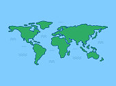 World map with blue background. Line art design. Vector illustration. Flat style.