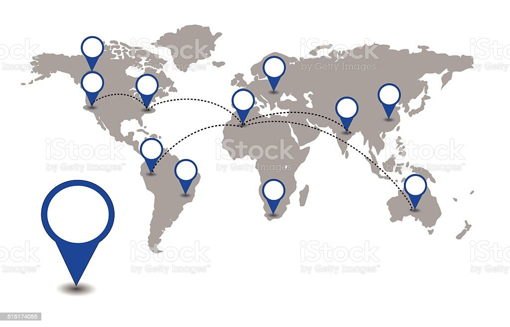 World map with blue location pointers vector vector art illustration
