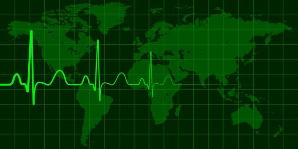 illustrations, cliparts, dessins animés et icônes de carte mondiale avec cardio pulse vecteur concept de changement planétaire, crises et catastrophes, actualités - desastre natural