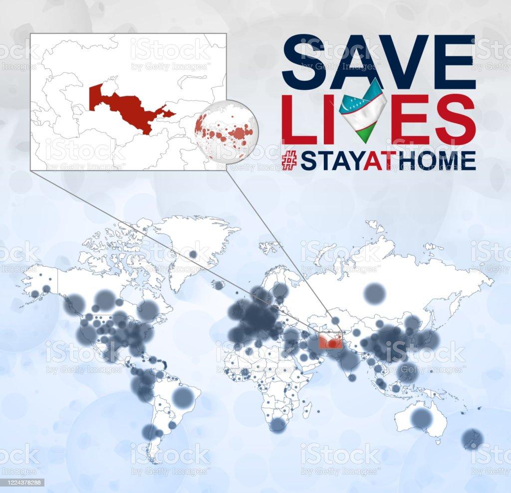 Image of: World Map With Cases Of Coronavirus Focus On Uzbekistan Covid19 Disease In Uzbekistan Slogan Save Lives With Flag Of Uzbekistan Stock Illustration Download Image Now Istock