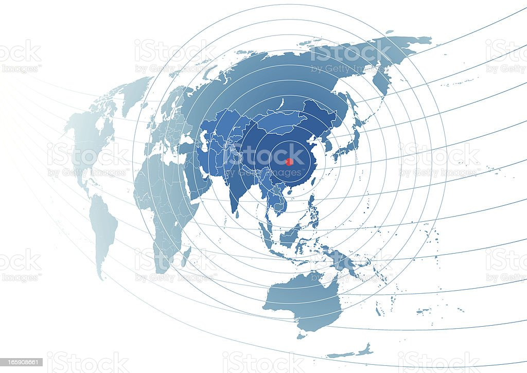 World map with china in centre stock vector art more images of world map with china in centre royalty free world map with china in centre gumiabroncs Images