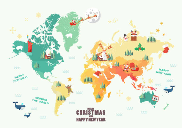 World Map with Christmas elements World Map with Christmas elements. Vector illustration continent geographic area stock illustrations