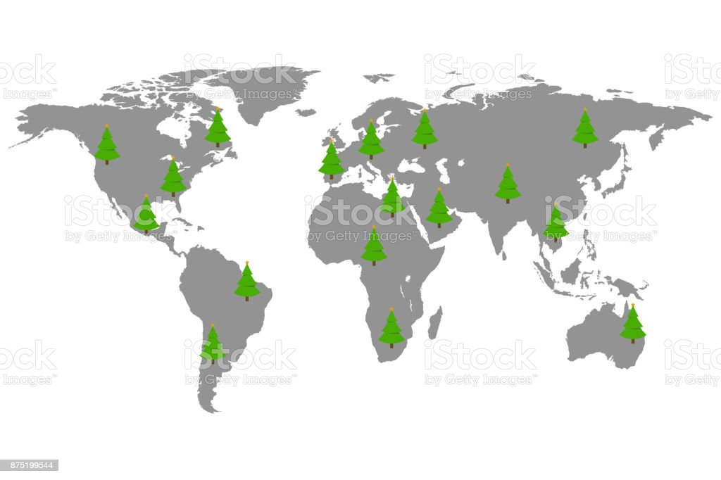 World map with christmas trees vector art illustration