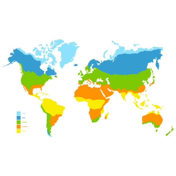 stockillustraties, clipart, cartoons en iconen met wereldkaart met klimaatzone - klimaat
