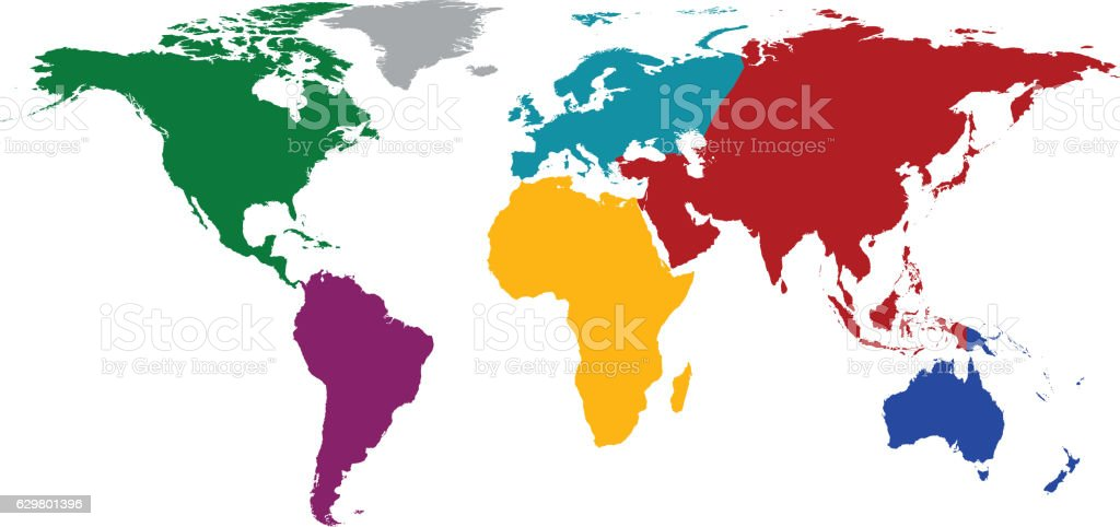 Ilustracin de world map with colored continents y ms banco de world map with colored continents ilustracin de world map with colored continents y ms banco gumiabroncs Image collections