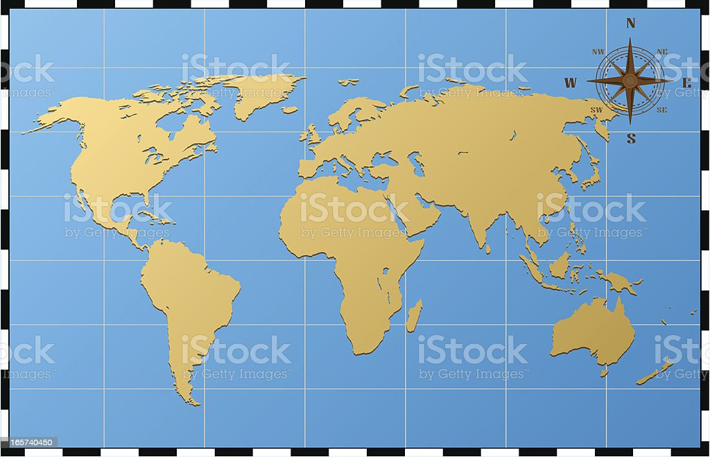 World Map With Compass Rose Stock Vector Art & More Images of