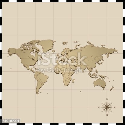 World Map With Compass Rose Stock Vector Art More Images Of Africa