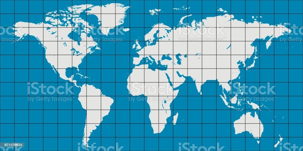 world map with coordinate grid and meridian and parallel, map of planet earth vector art illustration