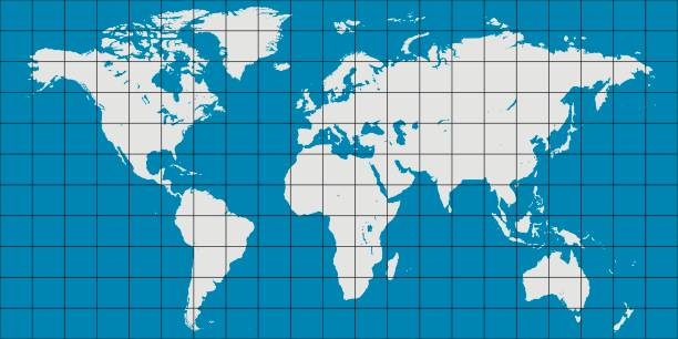 ilustrações de stock, clip art, desenhos animados e ícones de world map with coordinate grid and meridian and parallel, map of planet earth - latitude