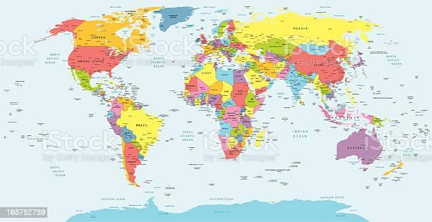 Cartina Del Mondo Con Nomi.Mappa Del Mondo Con I Paesi Paese E Citta Nomi Immagini Vettoriali Stock E Altre Immagini Di Africa Istock