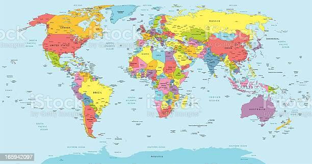 Cartina Mondiale Stati.Mappa Del Mondo Con I Paesi Paese E Citta Nomi Immagini Vettoriali Stock E Altre Immagini Di Africa Istock