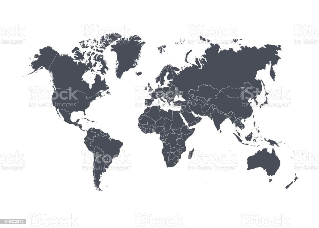 World map with countries isolated on white background. Vector illustration. - ilustração de arte vetorial