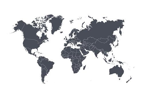 與國家孤立的白色背景上的世界地圖向量圖向量圖形及更多世界地圖圖片