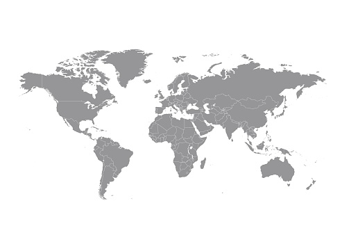 World map with countries vector clipart